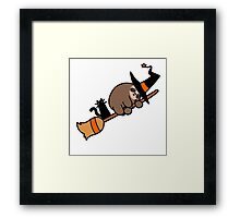 Witch Sloth on Broomstick Framed Print