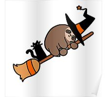 Witch Sloth on Broomstick Poster