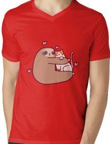 Sloth Loves Cat Mens V-Neck T-Shirt