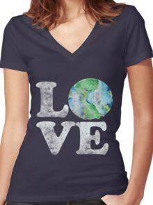 LOVE earth day Women's Fitted V-Neck T-Shirt