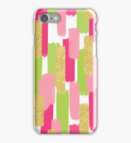 Pink and Gold Glitter | Brush Strokes iPhone Case/Skin