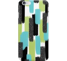 Turquoise and Black Glitter | Brush Strokes iPhone Case/Skin