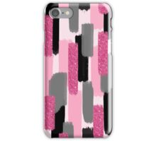 Black and Pink Glitter | Brush Strokes iPhone Case/Skin