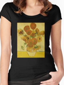 'Still Life with Sunflowers' by Vincent Van Gogh (Reproduction) Women's Fitted Scoop T-Shirt