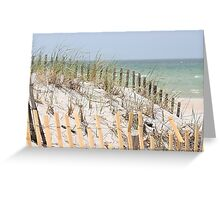 Ocean beach, sand dune, and protective fence Greeting Card