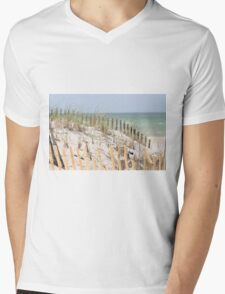 Ocean beach, sand dune, and protective fence Mens V-Neck T-Shirt