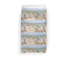 Ocean beach, sand dune, and protective fence Duvet Cover