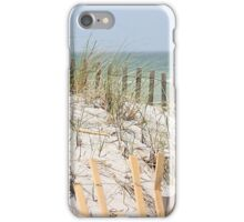 Ocean beach, sand dune, and protective fence iPhone Case/Skin