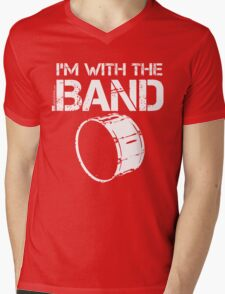 I'm With The Band - Bass Drum (White Lettering) Mens V-Neck T-Shirt