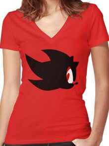 Shadow the hedgehog silhouette  Women's Fitted V-Neck T-Shirt