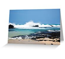 Hawaiian Coast Ocean Waves Rocky Beach Landscape Greeting Card