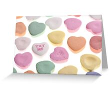 Pink Yellow White Orange Green Valentine's Day Candy Hearts Greeting Card