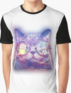 Rick and Morty Galaxy Cat Graphic T-Shirt