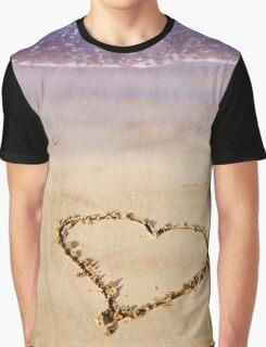 Heart Drawn In Sand Sandy Beach Ocean Waves Graphic T-Shirt