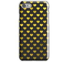 Gold Metallic Faux Foil Hearts Polka Dot Pattern Hearts iPhone Case/Skin