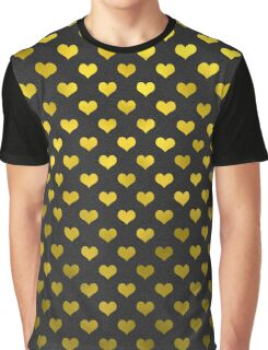 Gold Metallic Faux Foil Hearts Polka Dot Pattern Hearts Graphic T-Shirt