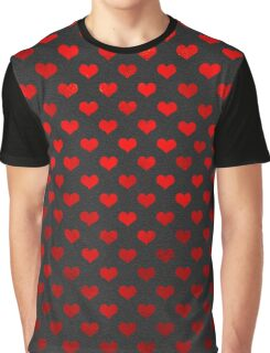 Red Metallic Hearts Polka Dot Pattern Hearts Graphic T-Shirt