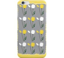 Tulips Pattern in Yellow, White, and Grey iPhone Case/Skin