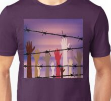 Hands Behind a Barbed Wire Unisex T-Shirt