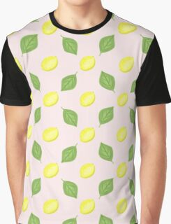 Lemon and Leaf Simple Repeat Pattern Graphic T-Shirt
