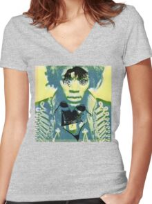 Woman haze all in my brain. Women's Fitted V-Neck T-Shirt
