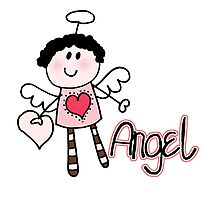 Cute Stick Figure Angel Photographic Print