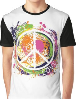 Hippie peace symbol. Peace and love. Colorful grunge style art. Graphic T-Shirt