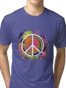 Hippie peace symbol. Peace and love. Colorful grunge style art. Tri-blend T-Shirt