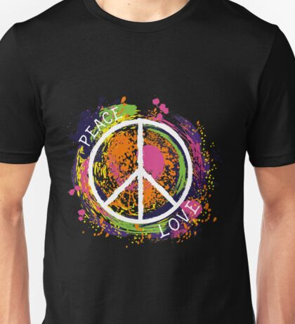 Hippie peace symbol. Peace and love. Colorful grunge style art. Unisex T-Shirt