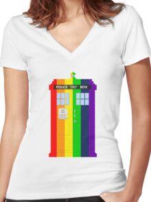 Rainbow Tardis Women's Fitted V-Neck T-Shirt
