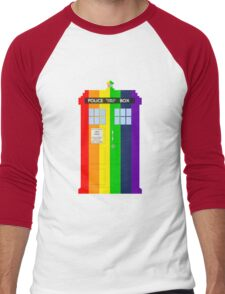 Rainbow Tardis Men's Baseball ¾ T-Shirt