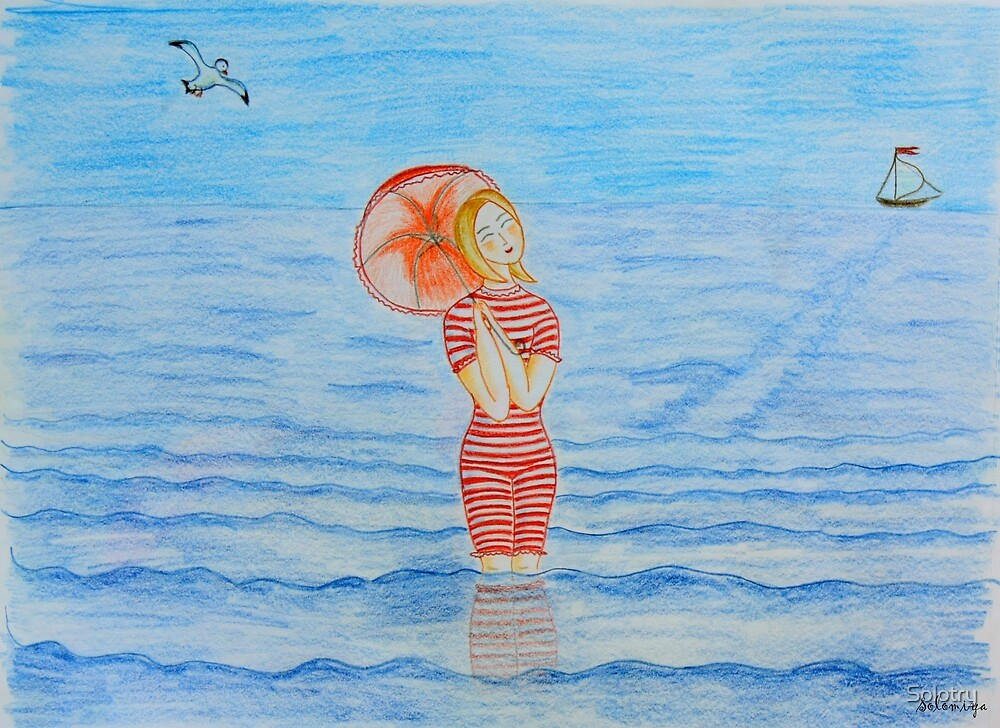 Young girl and sea I by Solotry