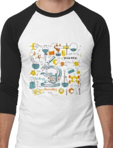 Vintage seamless pattern old chemistry laboratory with microscope, tubes and formulas Men's Baseball ¾ T-Shirt
