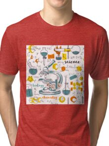 Vintage seamless pattern old chemistry laboratory with microscope, tubes and formulas Tri-blend T-Shirt