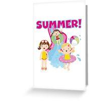 Summer Kids Swimming Pool Water Slide Greeting Card
