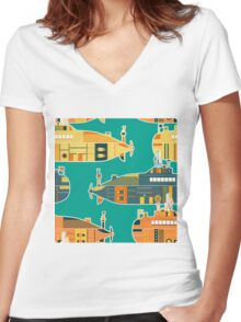 Seamless pattern with submarine Women's Fitted V-Neck T-Shirt