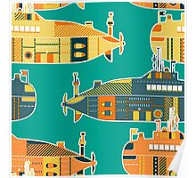 Seamless pattern with submarine Poster