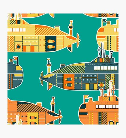 Seamless pattern with submarine Photographic Print