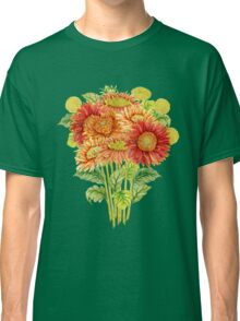 Bouquet with watercolor gerbera flower. Hand drawn illustration Classic T-Shirt