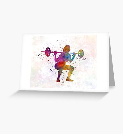 Body building woman isolated Greeting Card