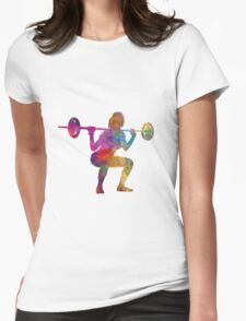 Body building woman isolated Womens Fitted T-Shirt