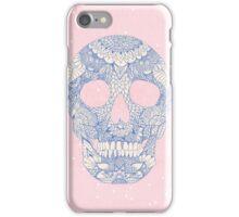 Modern blue ornate skull floral lace mandala iPhone Case/Skin