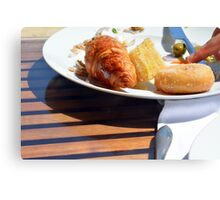 Breakfast with bagel, croissant and pastries. Canvas Print
