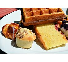 Plate with sweet pastry: waffles, cakes, croissant. Photographic Print