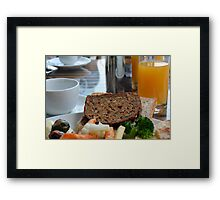 Lunch with pasta, bread, vegetables and orange juice. Framed Print