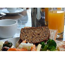 Lunch with pasta, bread, vegetables and orange juice. Photographic Print