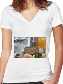 Lunch with pasta, bread, vegetables and orange juice. Women's Fitted V-Neck T-Shirt