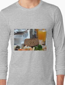 Lunch with pasta, bread, vegetables and orange juice. Long Sleeve T-Shirt