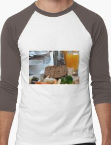 Lunch with pasta, bread, vegetables and orange juice. Men's Baseball ¾ T-Shirt