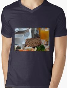 Lunch with pasta, bread, vegetables and orange juice. Mens V-Neck T-Shirt
